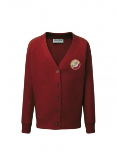 darton primary burgundy cardigan